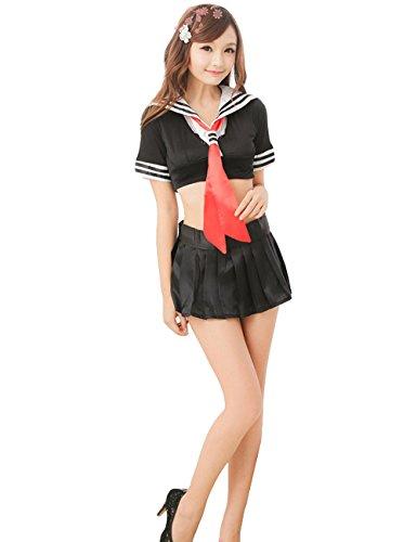YUANMO Cosplay Schuluniform Japan Schwarz Sexy Dessous Set Damen Matrosenanzug Herren Kostüm Outfit Kurzes Oberteil Mini Faltenrock