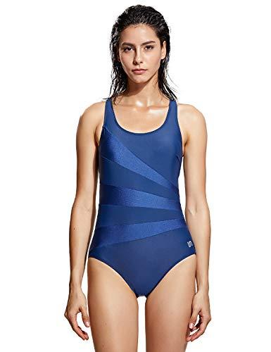 SYROKAN Damen Sports Badeanzug Einteiler Ausbildung Gestreift Bademode Marine-034 42 inch