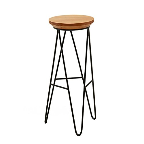 Back-stil Barhocker (DZW Kreativ Holz Eisen Barhocker Hoher Stuhl Haushalt Barhocker Esszimmerhocker Cafe Hoch 60cm und 75cm , black 40*40*75 height (stool surface diameter 30cm),Stark)
