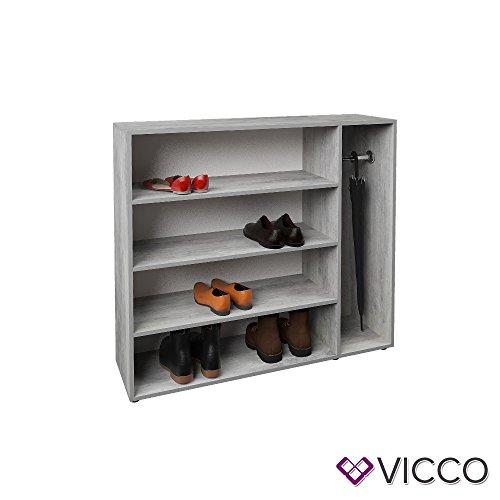 Vicco Schuhregal SCHIRM Schuhschrank Schuhständer Standregal Flur Garderobe (Beton Optik)