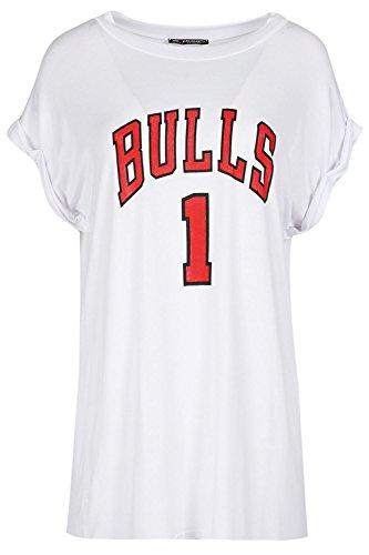 Be Jealous Damen Frauen Uni-Besatzung Hals Drehen Sie oben Hülse Bulls 1 Übergroße Ausgebeult T-Shirt Oben Bull 1 White - Varsity Baggy Loose Fitted T-shirt