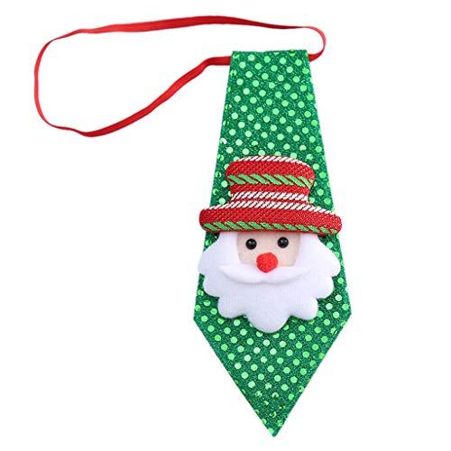 Exing Krawatte Weihnachten mit Pailletten für Kinder, Krawatte für Weihnachten, Kostüm, Krawatte, elastisch, Dress Up, Le Père Noël, one Size