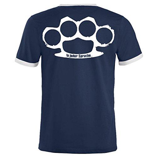 Männer und Herren T-Shirt In jeder Sprache mit Rückendruck Dunkelblau/Weiß