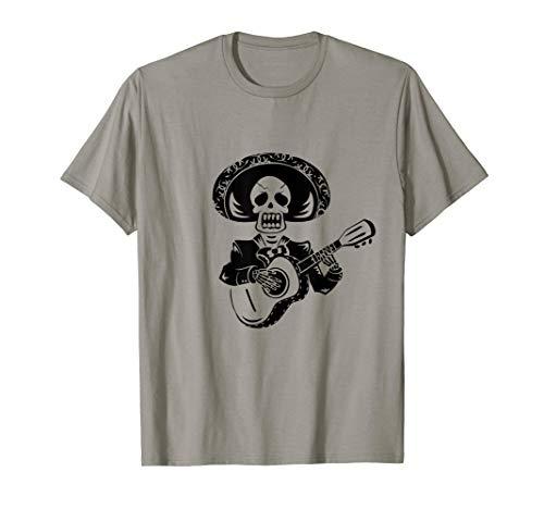 Dia De Los Muertos Skull Totenkopf Gitarren Spieler Shirt T-Shirt