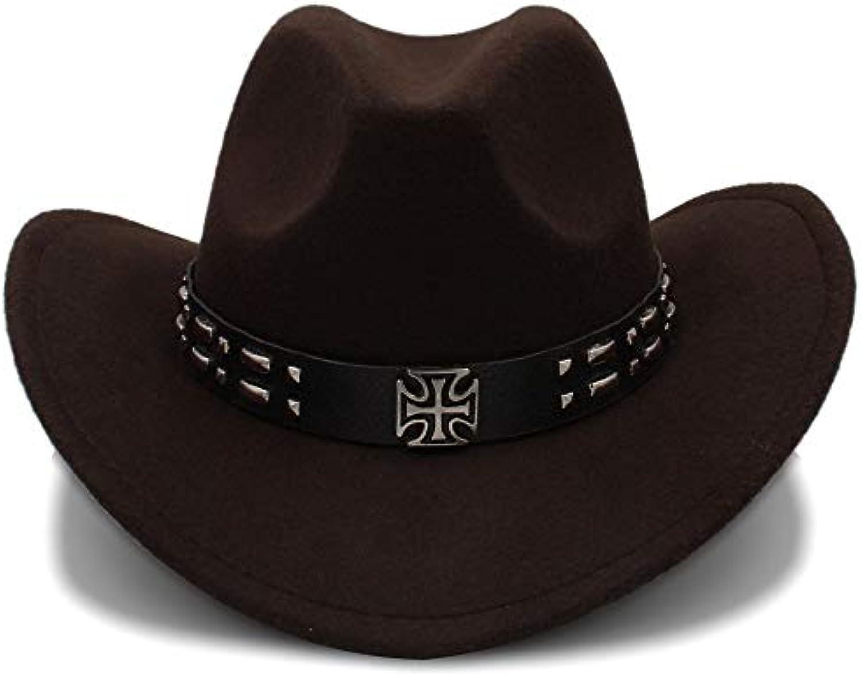 HYXUM Cappello da Cowboy Occidentale da Donna Uomo in Lana da Donna da con  Orlo Arrossoolato Jazz Jazz Equ Parent 311501 53889a80aaa6