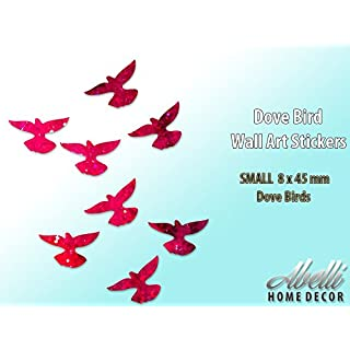 Glitter Red DOVE BIRDS, Colour Changing Glitter Wall Stickers (Small 8 x 45 mm), Abelli Home Decor