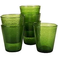 Kaleidos Classico Set di 6 Bicchieri Tavola 300 ml, Vetro Soffiato e Colorato in Pasta, Verde, 9 x 9 x 10 cm