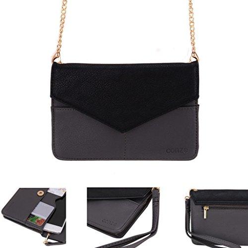 Conze da donna portafoglio tutto borsa con spallacci per Smart Phone per Allview Viper i V1 Grigio grigio grigio