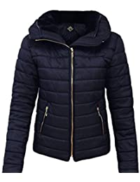 Chaqueta para mujer acolchada con capucha, cuello de piel, cálida y gruesa de RR