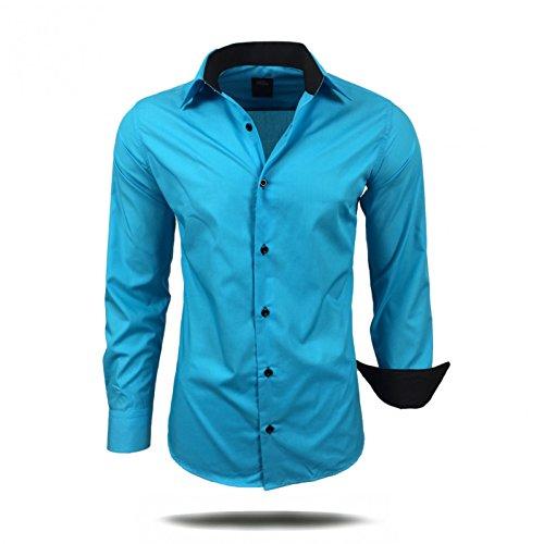 Herren Hemd Hemden Business Hochzeit Freizeit Slim Fit Bügelleicht S M L XL XXL, Größe:S;Farbe:Türkis