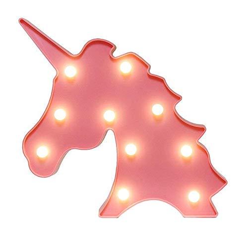 QIANGUANG Nachtlichter Schlummerleuchten für Kinder Urlaub Geschenk Dekoration süß 3D Stimmungslichter Schreibtischlampe Wandlichter LED Nachtlampe Wohnen Möbel Wohnaccessoires(Einhorn Kopf)
