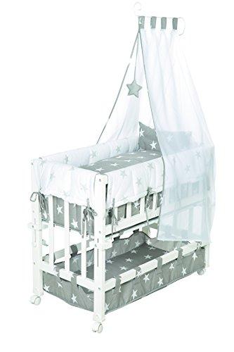 roba Beistellbett, Stubenbett 4 in 1 'Little Stars', Babybett & Kinderbank, Holz weiß inkl. kompletter Ausstattung & Baby Bettwäsche (80x80cm) -