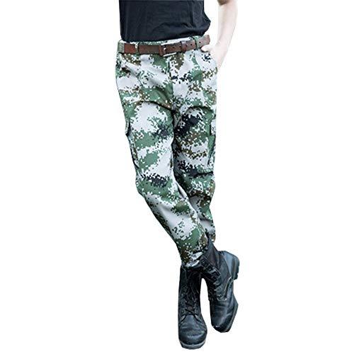 Preisvergleich Produktbild XFentech Militär Hose - Männer Multi-Tasche Arbeitskleidung Militärische Ausbildung Camouflage-Hose, Dunkelgelb, Tag 200, Taille 111cm