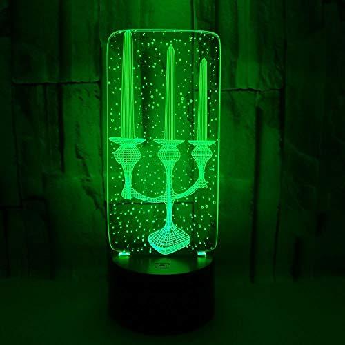 Lampade 3D a LED Nigh Light, 7 colori, Touch/Telecomando Art, Batteria USB/AA, Lampada da tavolo Tavolo Decorazione per bambini, candela