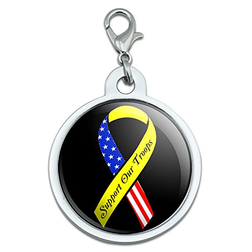 Unterstützen Unsere Truppen Band–Gelb und Flagge auf Schwarz Groß verchromtem Metall Pet Dog Cat ID Tag (Truppen Dog Tag)