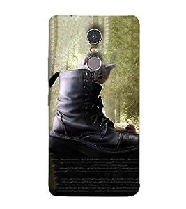 Takkloo black shoe ( cat inside the shoe, green view of tree, cute cat) Printed Designer Back Case Cover for Lenovo K6 Note