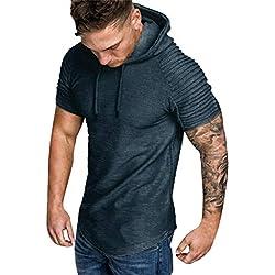 ITISME HOMME TOP Sweat-Shirt Ete Manche Courte Homme Sweat-Shirt à Capuche Décontracté Casual Survêtements Grande Taille Tops Outwear Blouse Sweat Chic