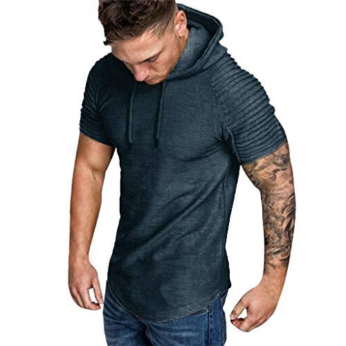 SUCES t-Shirt Herren Slim fit Sweatshirt Crew Neck Basic T-Shirt Herbst und Winterfalten der Art und Weisemänner schlanken passende Raglan Kurzarm Hoodie Spitzenbluse Kapuzenpullover