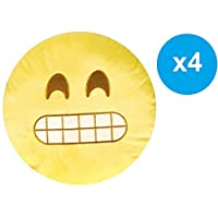 Fitness World Emoji Smiley Emoticon Cushion Set, Yellow, Size 36 cm, 4 Pieces, A-186