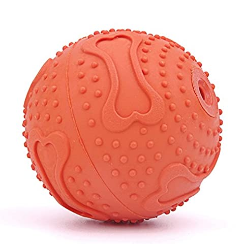 ThinkPet Rubber Squeaky Ball Dog Toy 2.4 Inch Orange, Perfect Toy and Gift for Your Tiny or Puppy Dogs by ThinkPet