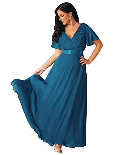 Ever-pretty abiti da cerimonia donna stile impero linea ad a scollo a v maniche corte lungo teal 36