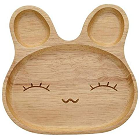 Cute Baby Natural Rubber Bunny Rabbit Wood Plate,Handcraft Kid Dinner Plate,Creative Cartoon Emotions Serving Platter,Reusable,Safe and Eco-friendly (Happy Face) by CYY mall
