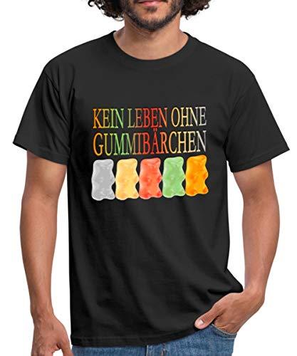 Spreadshirt Süßigkeiten Kein Leben Ohne Gummibärchen Männer T-Shirt, XL, Schwarz