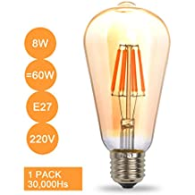 THINKMORE Bombilla Filamento LED E27 Retro 8W Equivalente a 60W Blanco Cálido 2300K No Regulable 1 unidades