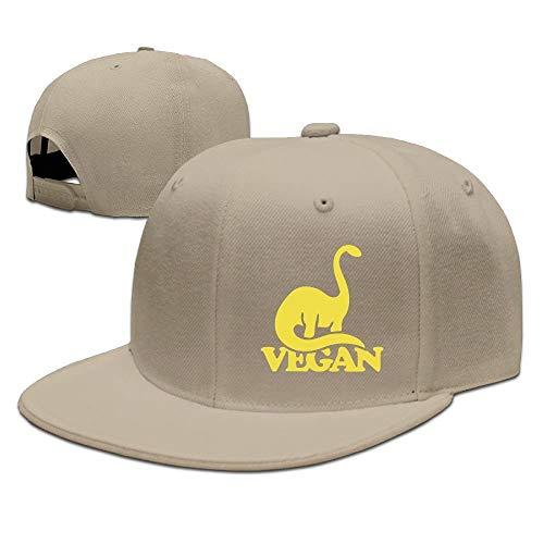 Vegan Dinosaur Unisex Adjustable Flat Brim Baseball Cap Hip Hop Hat Flat Brim Fitted Wool Cap
