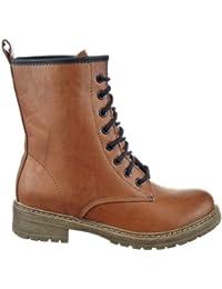 Sopily - Zapatillas de Moda Botines Botas militares Media pierna mujer Talón Tacón ancho 3.5 CM - plantilla textil - Camel