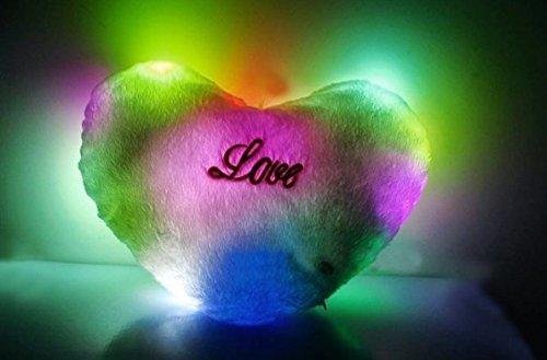 ten Glühen-Herz-Kissen 7-Color LED-weiches Valentines Tagesgeschenk-Kissen-Auto-Farbumdrehung Herz-geformtes belichtetes Kissen-Kissen-Plüsch-Spielzeug an der Farbe nach dem Zufall (Herzen Glühen)