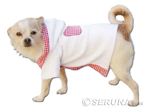 Bademantel in weiß-rosa mit Kaputze Jacke Hund Bekleidung für Hunde Hundebekleidung Hundemantel günstig M52 Gr. XS