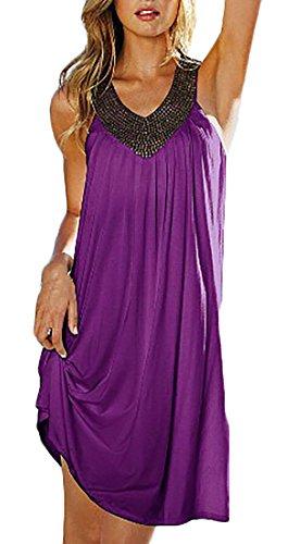 Frauen V-Ausschnitt Kleid Strandkleid Der Heißen Bohrung Rückenfrei Locker Trägerlos Normallacks Kurz Minikleid Beachwear Sommer Lila