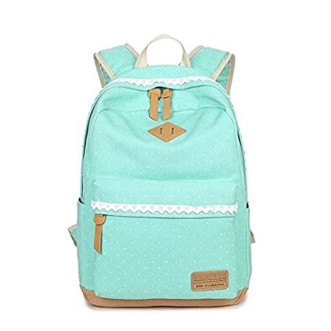 LABABE Canvas Backpack Vintage Polka Dot Sweet Lace Women's and Girl's Backpack School Bag Travel Bag - light green