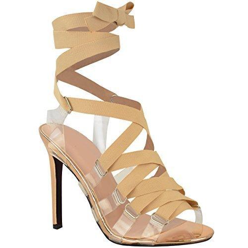 Donna Tacchi A Spillo Con Lacci Perspex Alla Caviglia Sandali Con Cinturino Taglie 3-8 rosa dorato metallizzato