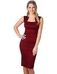 KRISP® Damen Stretch Kleid Etuikleid Bleistiftkleid Trägerkleid