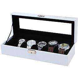 Uhrenbox für 6 Uhren Leder Uhrenkoffer Uhrenschatulle Uhrenvitrine Uhrenkasten