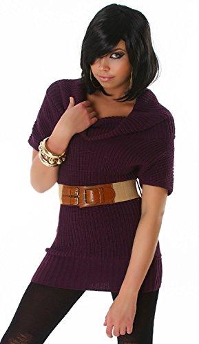 Jela London Damen Pullover kurzärmelig mit Gürtel, dunkellila Größe 34-38
