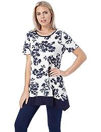 631e51582b4a6 Roman Originals Women Summer Floral Print Dipped Hanky Hem Top Everyday  Tunics Tops - Navy Blue