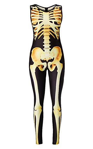 TUONROAD Halloween Jumpsuit Print 3D Digital Zombie Skeleton Body Jade Weiß Rot Wunde Patch Sexy Petite Kostüm Ideen Lustige Einzigartige Strumpfhosen Haut Anzug Catsuit Overall für Cosplay Party