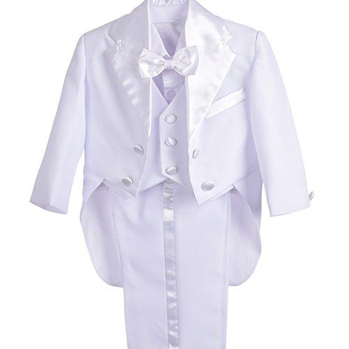 Lito Angels Baby Jungen 5 Stück set Tuxedo Tux Schwanz Formale Outfits Page Boy Anzug Hochzeit Taufanzug Gr. 6 Monate Weiß