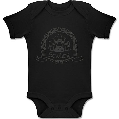 Sport Baby - Bowling Lorbeerkranz - 18/24 Monate - Schwarz - BZ10 - Baby Body Kurzarm für Jungen und Mädchen