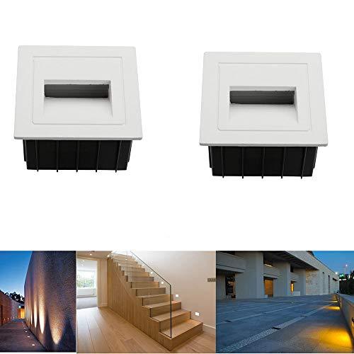 SUBOSI LED Treppenlicht Aluminium 230V 3W Glas Wandleuchten Treppenlicht mit Unterputzdose Treppenlicht Wandleuchte IP65 wasserdicht Kaltweiß -
