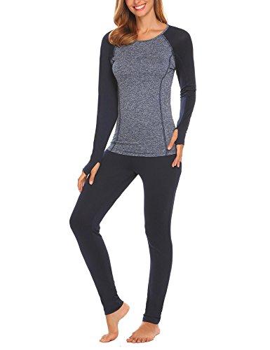 INZOE Damen Thermo Unterwäsche  Set ski - schilaufen warm, weich und atmungsaktiv -Langarmhemd Hose lang, 38/L, Dunkelblau