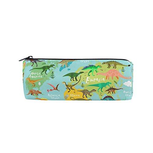 miloha Weltkarte und Dinosaurier Bleistift Stift Tasche für die Tasche, Cartoon Tier Student Büro College Mitte Schule High School Großer Halter Box Organizer