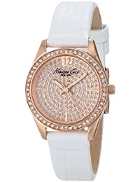Kenneth Cole New York Women's KC2844 Classic Rose Gold Case Stone Dial Bezel White Strap Watch