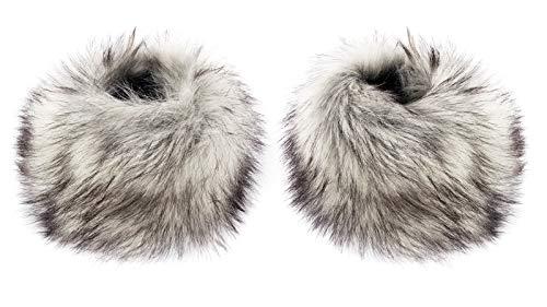 Futrzane Pulswärmer Faux Fell Pelz Armstulpen Stulpen Manschetten Fellstulpen (Sibirische Silber)