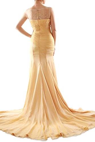MACloth Women Mermaid Chiffon Long Prom Dress Formal Evening Party Ball Gown gold