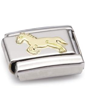 Nomination Composable Classic TIERE - LAND Edelstahl und 18K-Gold (Ganzes Pferd) 030112