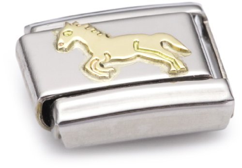 Nomination Composable Classic Land Animals Horse Stainless Steel and 18K Gold Test